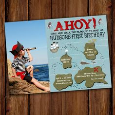 Island Ahoy Pirate Birthday Invitation  by ScriptivaPaper on Etsy, $15.00