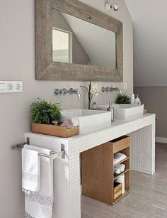 Ideas Small Bathroom Storage Cabinet The Wall Minimal Bathroom, White Bathroom, Bathroom Interior, Modern Bathroom, Master Bathroom, Bathroom Plants, Bathroom Ideas, Bathroom Inspo, Serene Bathroom