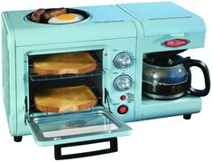 Nostalgia Electrics Series 3-in-1 Breakfast Station makes toast, coffee, eggs & sausage in one appliance!