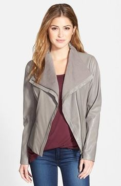 T Tahari 'Luisa' Knit Panel Drape Front Leather Jacket (Online Only)