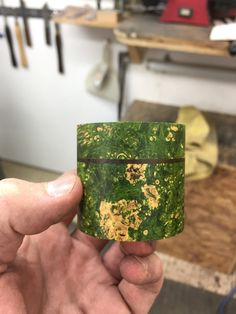 Dyed/stabilised maple burr & Chechen burr lidded box. Made by George Watkins