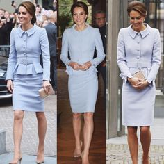 Kate's elegant pale blue skirt suit is by Catherine Walker. The belted jacket features large buttons and peplum detail, whilst the skirt falls to just above the knee.  She accessorized with her Praline Gianvito Rossi Pumps and LK Bennet Nina clutch. Kate wore the Queens pearl and diamond earrings!