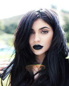 The woman   Kylie Jenner   Black lip   Make up idea   Beautiful  