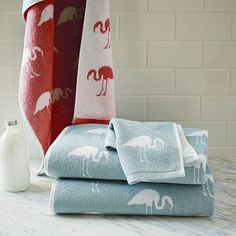 Flamingo Jacquard Towels #westelm