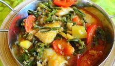 Surinaams eten – Kousenband Tilapia (gesmoorde kousenband met tilapia en trassie trafasie)