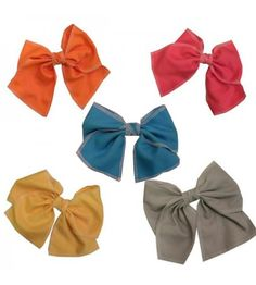 Keshet Accessories: Large Cotton Hair Bow with White Stitching