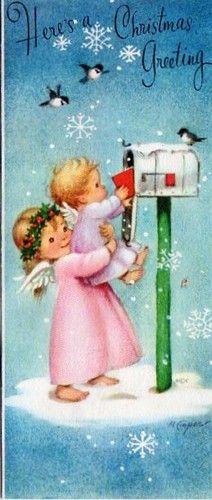 Vintage Christmas card, Angels at mailbox