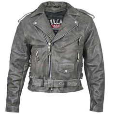 Wholesale Leather & Motorcycle Distributor: Vulcan NF-2002 Distressed-Leather Mens Belted Motorcycle Jacket