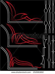 Pinstripe Graphics Corner, Border : Vinyl Ready Vector Art