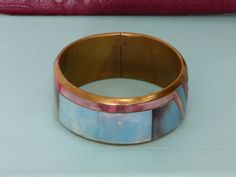 Brass and Shell Bangle  Vintage 1970's  Shows by ChicAvantGarde