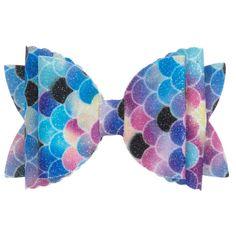 Colourful vinyl bow hair clip by Bowtique London, with a sparkling fish tail print. Diy Bow, Diy Hair Bows, Bow Hair Clips, London Girls, Mermaid Hair, Headbands, Hair Accessories, Sewing, Handmade