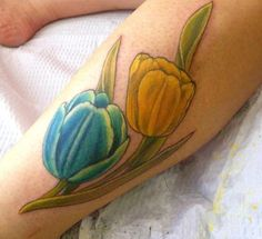 bb21d37ef Dual Yellow and Blue Tulip Tattoo Tulip Tattoo, Blue Tulips, Tattoo Designs  And Meanings