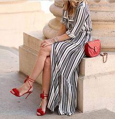 Vestido Listrado Longo