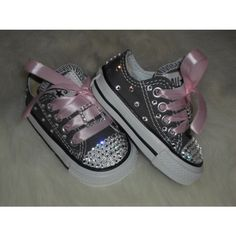Decorated baby Converse Sneakers | Baby infant toddler Converse Chuck Taylors Swarovski Crystals Bling ...