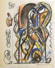 Jackson Pollock (1912-1956) Pencil Drawing