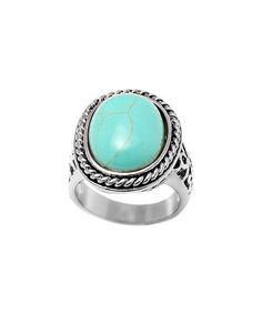 Another great find on #zulily! Turquoise & Silvertone Rope Engraved Oval Ring #zulilyfinds