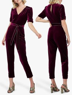 Made from soft sumptuous velvet with metallic trims for a truly decadent feel, the Kimberley jumpsuit from Monsoon is ideal for black-tie events and formal occasions alike. Designed with a flattering v-neckline, cropped sleeves and a button keyhole back fastening, the self-tie belt accentuates the waist for a sleek and slender silhouette. Ideas for Winter Fashion. Formal Winter Fashion. Winter wedding Guest Outfits. Velvet Jumpsuits. #jumpsuits #winterfashion