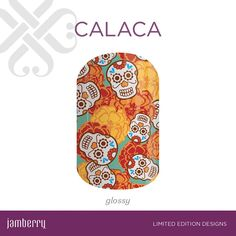 Celebrate Día de los Muertos in style with 'Calaca', featuring intricate sugar skulls over bright orange, yellow, and red flowers.