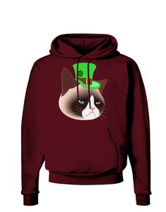 TooLoud Leprechaun Disgruntled Cat Dark Hoodie Sweatshirt