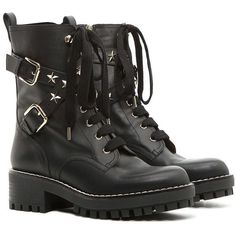 REDValentino Combat Boot With Stars (€725) ❤ liked on Polyvore featuring shoes, boots, black, side zip combat boots, leather boots, black studded boots, black buckle boots and black star boots