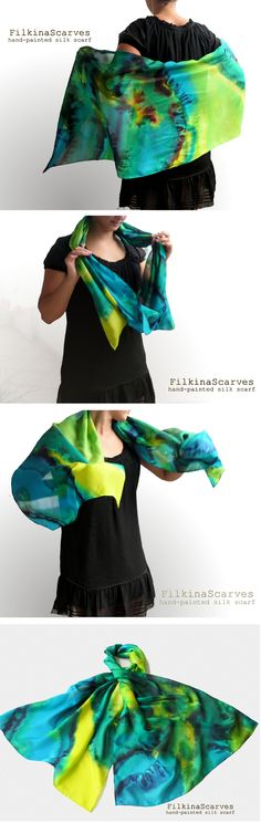 """@FilkinaScarves Elegant silk scarf """"Sea glare"""", suitable as an accent to your daily dress or evening dress. Hand-painted, abstract shapes remind Marine glare of iridescent blue, yellow, emerald green in shapes reminiscent of the sunny glare of the summer sea. #womengifts #weddinggifts #handpaintedscarf"""