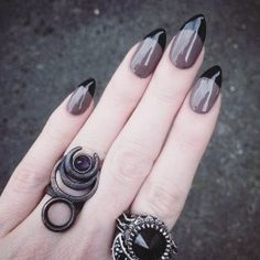 """rogueandwolf: """" Slayin' it with this badass twist on a french mani and our 'Chronos' Ring in Slate Steel & amethyst ♥✌ Vamp up your look on SALE now! //SHOP: ✨ therogueandthewolf.com via Instagram http://ift.tt/29QKXop """""""