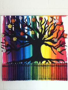 Melted Crayon Art  Tree by MeltGallery on Etsy, $50.00