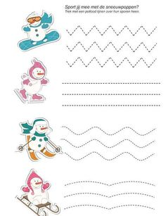 Crafts,Actvities and Worksheets for Preschool,Toddler and Kindergarten.Lots of worksheets and coloring pages. Tracing Worksheets, Preschool Worksheets, Preschool Activities, Winter Kids, Winter Sports, Winter Craft, Theme Sport, Preschool Writing, Sport Craft