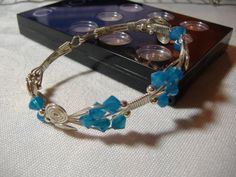Sterling Silver & Swarovski wire bangle. All made without heat (cold connecting)