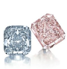 A Cushion-Cut Fancy Vivid Blue Diamond Ring of 3.81ct and A Rectangular-Cut Fancy Intense Pink Diamond Ring of 8.77ct Photo courtesy of Christies