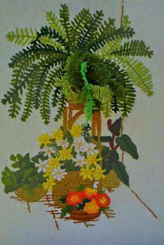 Floral 3D Ferns Vintage Framed Complete Finished Crewel Picture 70's