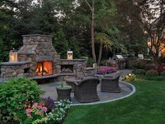 Outdoor fireplace - living room