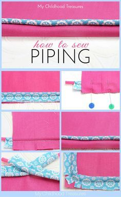 How to sew piping into seams, around corners and now to stop and start piping. Easy step by step instructions and photos.