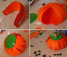HALLOWEEN or FALL: how to make paper pumpkins halloween crafts kids tutorial