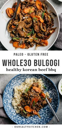 This healthy bulgogi (Korean beef BBQ) is the perfect asian recipe for a quick and easy weeknight dinner or healthy Friday night fake-out! Naturally paleo, Whole30, and gluten free, this traditional Korean recipe is loaded with flavor and texture, and so easy to prepare - you'll be instantly addicted! Serve this easy Whole30 dinner recipe over cauliflower or regular rice, or in lettuce cups for a low carb alternative. #whole30 #asianrecipes