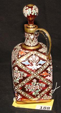 MOSER CRANBERRY VENETIAN GLASS DECANTER WITH HAND ENAMELING Venetian Glass, Antique Glass, Art Nouveau, Royal Art, Crystal Stemware, Cranberry Glass, Italian Art, Glass Art, Perfume Bottles