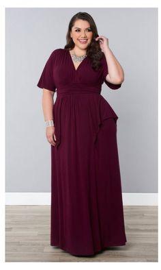 Kiyonna Indie Flair Maxi Dress in Raspberry WIne
