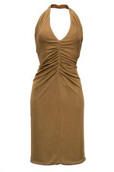dress shiny jersey caramel