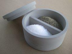 Divided concrete salt and pepper spice jar or other sugar jar with lid - Kreteware Concrete on Etsy, $49.95