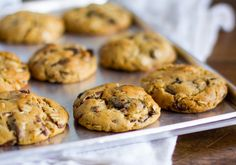 Peanut Butter Oatmeal Chocolate Chip Cookies | Pinner says - super tasty, easy to make! Got about 2 dozen cookies from the recipe using 1 heaping tablespoon of dough per cookie