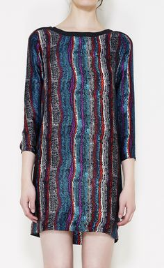 Sandro Teal, Black, Red And Multicolor Dress