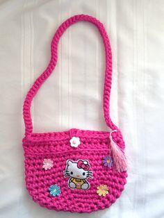 Handbag Crochet tshirt yarn trapillo zpagetthi made in cape town Rangan Originals handcrafted Hello Kitty