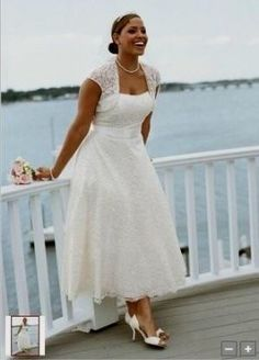Free Shipping Cap Sleeves Tea Length Short Plus size wedding ...