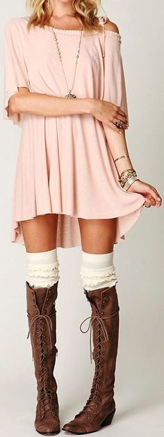 Stunning soft pink cover and high lace booties | F...