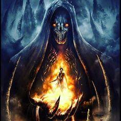"Grim Reaper: The ~ ""Infierno la Mano de la Oscuridad"" (""Inferno or Hell the Hand of Darkness""), by Francisco Garces. Dark Fantasy Art, Fantasy Artwork, Dark Artwork, Skull Artwork, Grim Reaper Art, Don't Fear The Reaper, Totenkopf Tattoos, Ange Demon, Dark Souls"