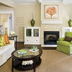 5 living room essentials when starting from scratch: couch, an upholstered chair, a round coffee table, woven rug & simple window treatments  Jill Boothby Living Room