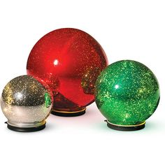 Improvements Twinkling Spheres Christmas Decoration-Set of 3 ($70) ❤ liked on Polyvore featuring home, home decor, holiday decorations, christmas, christmas decor, christmas home decor, christmas lights, holiday lights, indoor christmas decoration and outdoor xmas lights