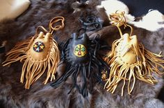 Handmade Drawstring Medicine Bags with Fringe by StarrLeathers, $22.00