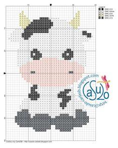 Cross Stitch Cow, Free Cross Stitch Charts, Cross Stitch Animals, Counted Cross Stitch Patterns, Cross Stitch Designs, Kids Knitting Patterns, Crochet Stitches Patterns, Crochet Patterns Amigurumi, Pixel Crochet