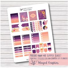 Free Summer Sunset Planner Stickers | Winged Graphics